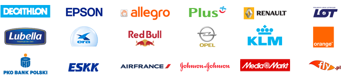 KLM,         Air France, Phoenix, Fly.pl, Orbis (Accorhotels.com), Decathlon,         Saalbach.com, LOT, ESSK, Allegro, Plus (Polkomtel), Renault, Epson,         Lubella, Era, Orange, Mediamarkt, Johnson & Johnson, Opel, Red         Bull, PKO BP